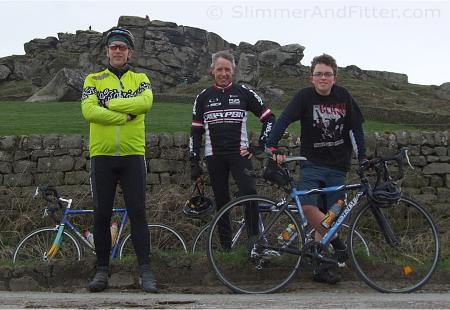 Colin, Colly and Calum in front of Almscliff Crag