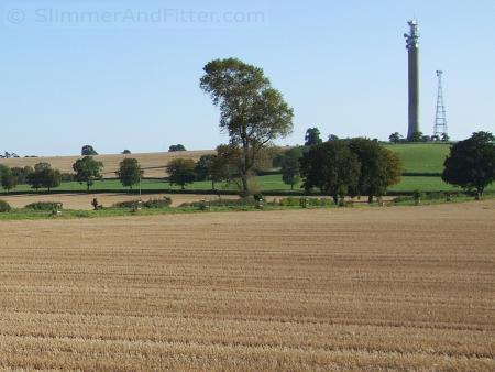 Fields and communications towers near Priors Marston