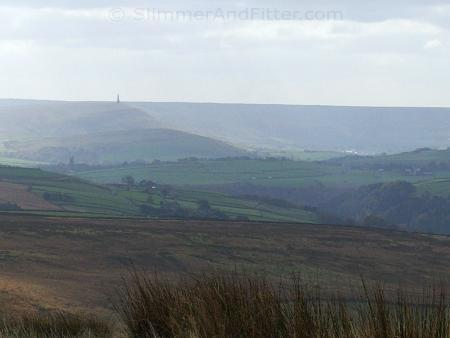 Heptonstall and Stoodley Pike from Stairs Lane