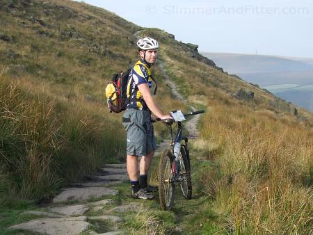 Jon and his singlespeed MTB, below Rake Head