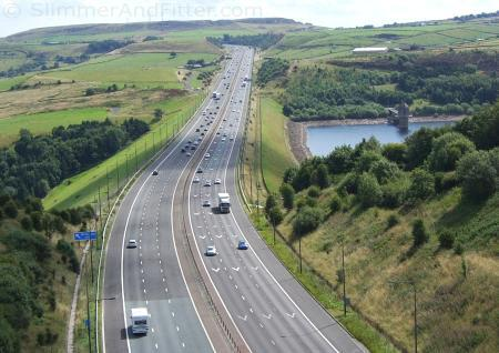 M62 looking east over Scammonden dam