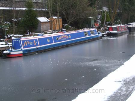 Narrow boats on frozen Rochdale canal