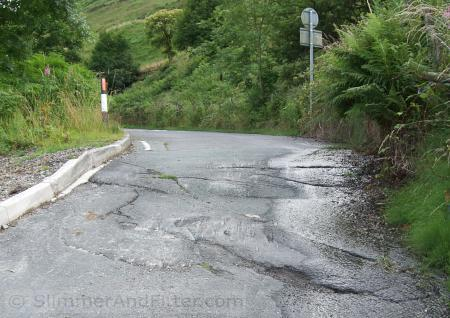 Landslip-affected road after Calderbrook