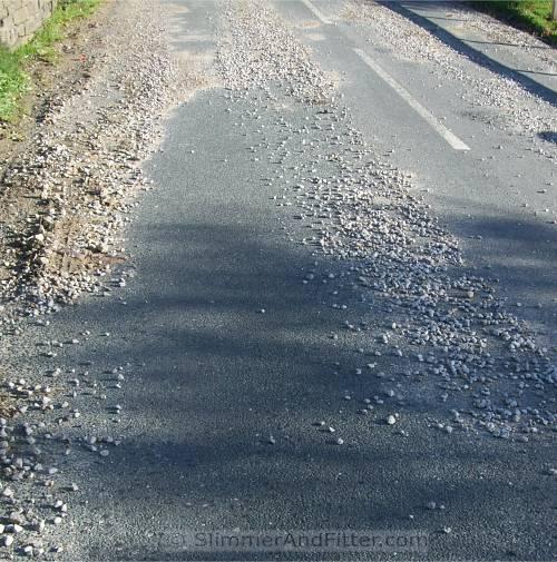 Gravel-strewn road
