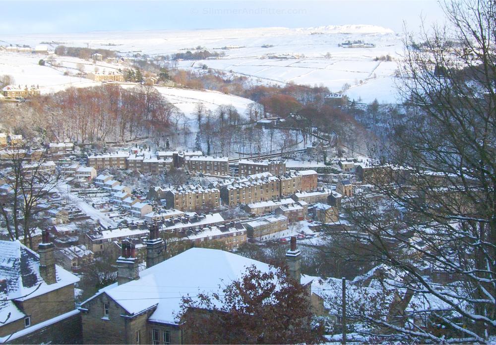 Snow-covered Hebden Bridge