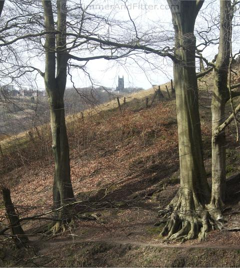 Heptonstall church from Nutclough Wood