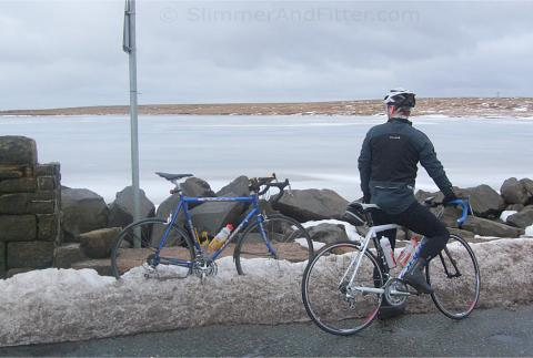 Martin admires a frozen Blackstone Edge reservoir