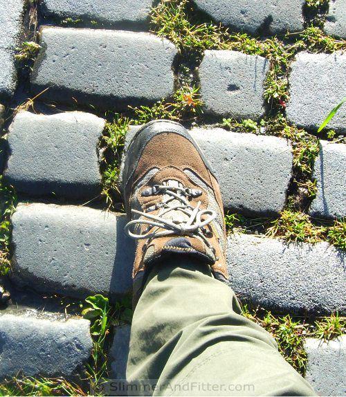 Old cobbled lane, new(ish) men's hiking shoe