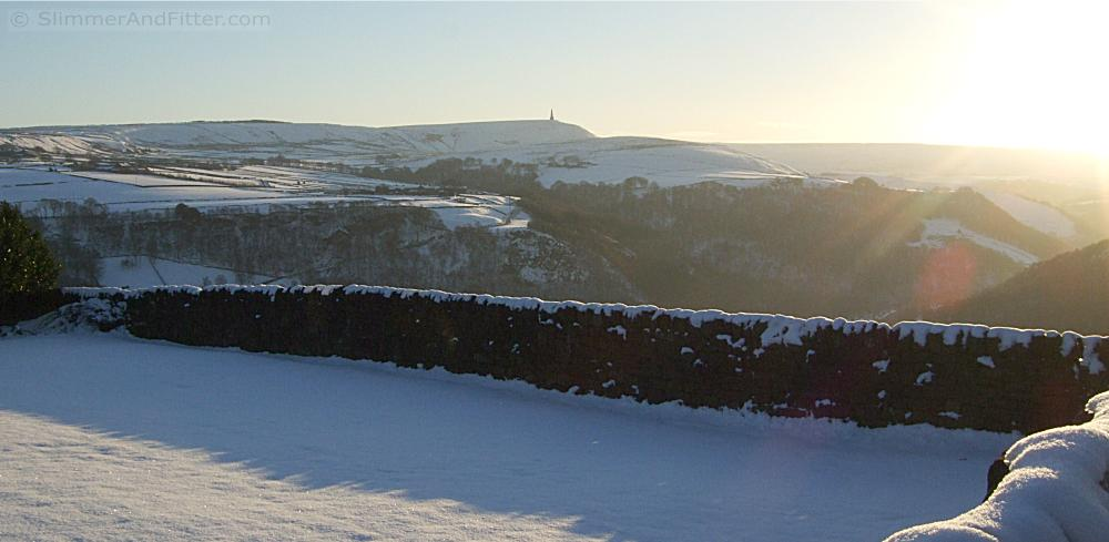Stoodley Pike from Heptonstall in winter sunshine