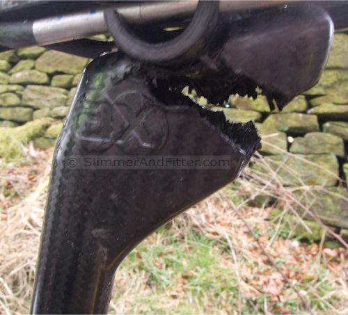 Broken carbon fibre seat post