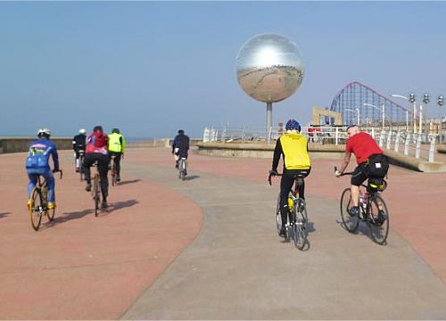 Cyclists on the new promenade, Blackpool