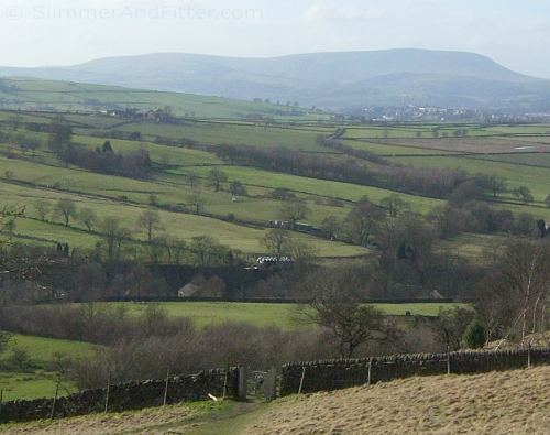 Wycoller Country Park and a distant Pendle Hill